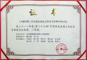 ★ 《關鍵參數三區變量控制在過程安全管理中的應用》榮獲中國有色金屬工業企業現代化管理成果二等獎